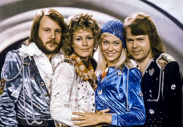 Swedish pop group Abba (from left) Benny Andersson, Anni-Frid Lyngstad, Agnetha Faltskog and Bjorn Ulvaeus are shown in this Feb. 9, 1974 file photo. (Olle Lindeborg/TT NEWS AGENCY via AP)