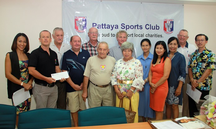 The Pattaya Sports Club donated 667,990 baht to 11 charity organizations as part of its long commitment to support the community.