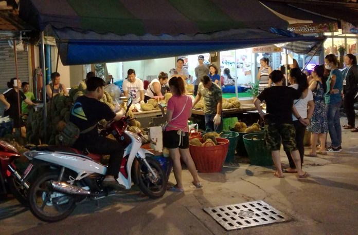 Durians all around! The king of fruits attracts huge crowds around Wat Chaimongkol Market.
