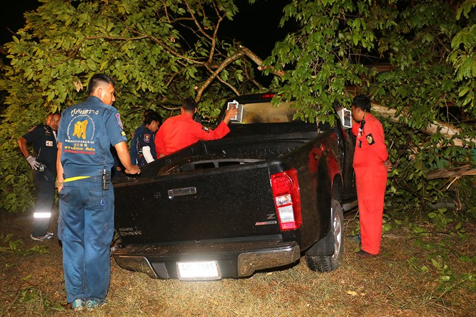 Rescue workers give medical aid to the occupants of the smashed pick-up.