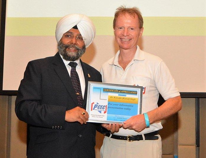 Ren Lexander presents Dr. Kamal Singh the PCEC's Certificate of Appreciation for his informative talk.