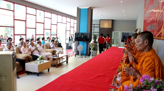 Monks chant prayers during the launching ceremony of the Sawang Boriboon Pattaya Technological College.