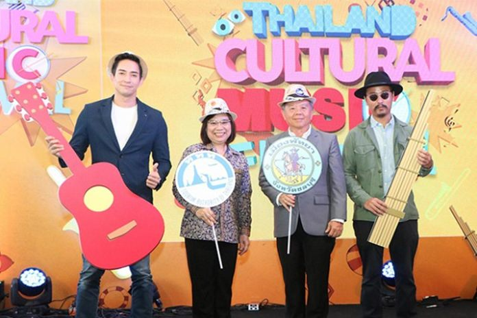 (From left) Actor Louis Scott, TAT representative Sujitra Jongchansitto, Pattaya City Deputy Mayor Pol. Maj. Gen. Bandit Khunchak and singer Nattapon Siangsukon pose during a press conference to announce the 2018 Thailand Cultural Music Festival.
