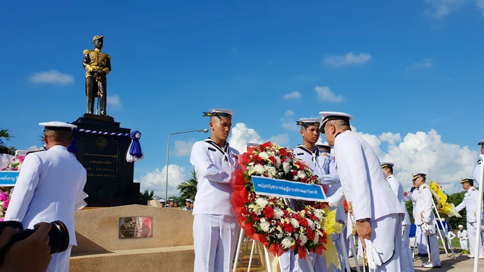 Capt. Wasan Sathornkit, deputy commander of Air and Coastal Defense Command, presided over the ceremonies to honor and venerate Adm. Abhakara Kiartivongse, Prince of Chumphon.
