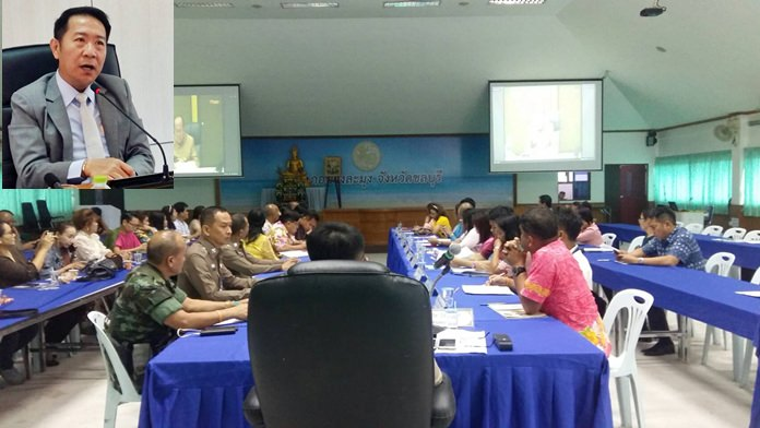 Naris Niramaiwong (Inset), Banglamung District Chief Officer, chaired a meeting to improve the quality of life for Pattaya-area residents.