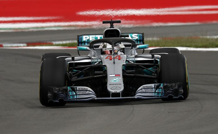 Mercedes driver Lewis Hamilton of Britain steers his car during the Spanish Formula One Grand Prix at the Barcelona Catalunya racetrack in Montmelo, Spain, Sunday, May 13. (AP Photo/Manu Fernandez)