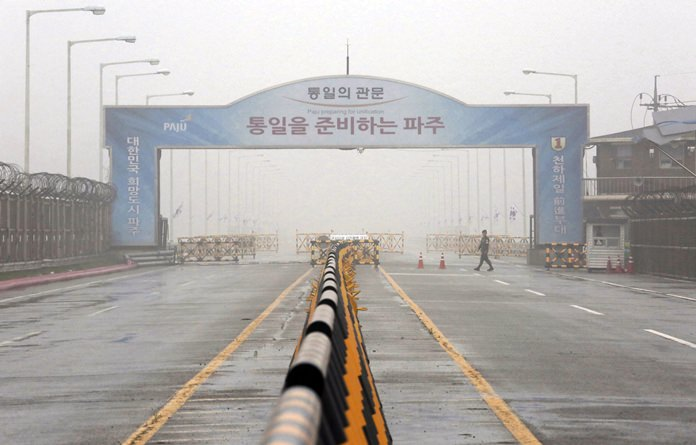A barricade is placed near Unification Bridge, which leads to the demilitarized zone, near the border village of Panmunjom in Paju, South Korea, Wednesday, May 16. (AP Photo/Ahn Young-joon)