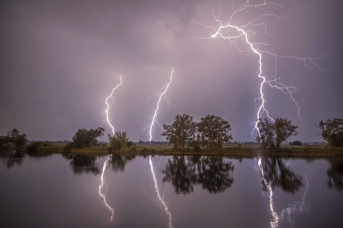 In this May 27 photo thunderbolts are reflected near Premnitz, eastern Germany. (Julian Staehle/dpa via AP)