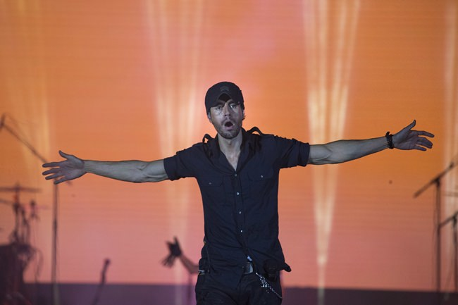 Spanish singer Enrique Iglesias performs on stage in Tel Aviv, Israel, Sunday, May 27. (AP Photo/Ariel Schalit)