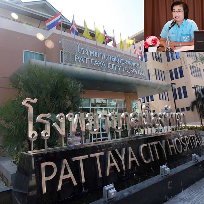 Pattaya Hospital Director Rungnapa Thapnonghee (inset) announces free influenza vaccinations through August 31.