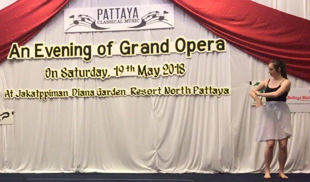 "Jodie recently danced to ""Down by the Salley Gardens"" with the Grand Opera Thailand at Diana Garden Resort in North Pattaya."