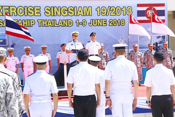 Col. Anthony Lee, commander of Singapore's 188th Squadron, and Rear Adm. Thawatchai Muangkham, commander of the Thai Frigate Squadron, open the June 1-9 war games at the Sattahip Naval Base.