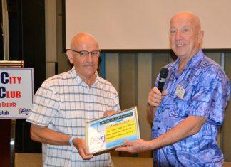 MC Roy Albiston provides the PCEC's Certificate of Appreciation to Jonathan Finch.