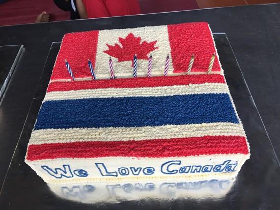 Thai & Canadian flags unite.