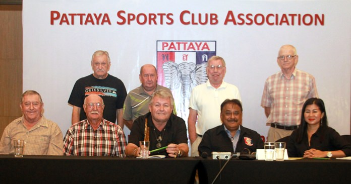 The news PSC Executive Committee pose for a group photo at the Holiday Inn Pattaya, Saturday, June 9. Seated (left-right) John Watson (Vice President), Geoffrey Couch (Registrar), Bjarne Nielson (Public Relations), Pratheep 'Peter' Malhotra (President), Noi Emmerson (Charity Chairperson), Standing (left to right) John Player (Treasurer), Paul Cornwell (Social Chairman), George Bennison (Secretary), Sandy Mackay (Golf Chairman).