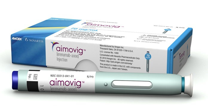 The U.S. Food and Drug Administration approved the drug Aimovig, the first in a new class of long-acting drugs designed to prevent chronic migraines, clearing the monthly shot for sale. (Amgen Inc. via AP)
