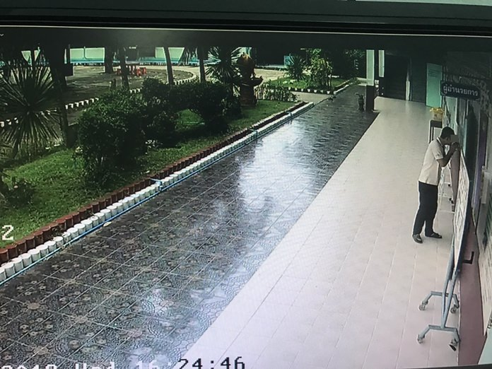 Police are searching for a man who assaulted and robbed a Banglamung School teacher in her classroom after classes ended.