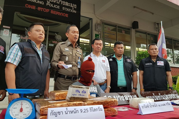 Pattaya police seized nine kilograms of marijuana and thousands of methamphetamine tablets in an arrest of a wanted Chonburi drug suspect.