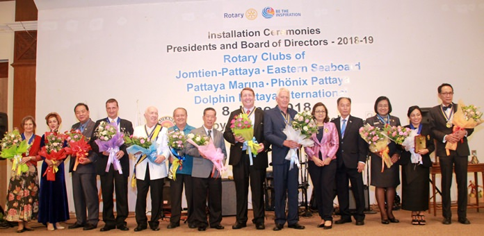 """District Governors, outgoing and incoming presidents of the 5 Rotary Clubs ready to """"Be the Inspiration"""" in 2018-19."""