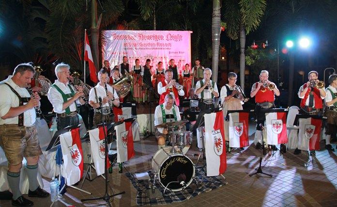 The Tiroler Burgermeisterkapelle band played up a storm of Austrian folk music.