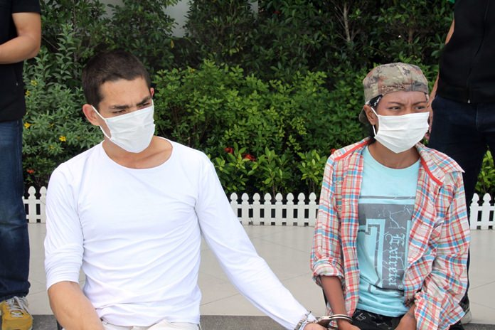 Vladimir Zhulabrev and Parichart Ninnon were arrested for allegedly stealing a Hungarian tourist's motorbike.
