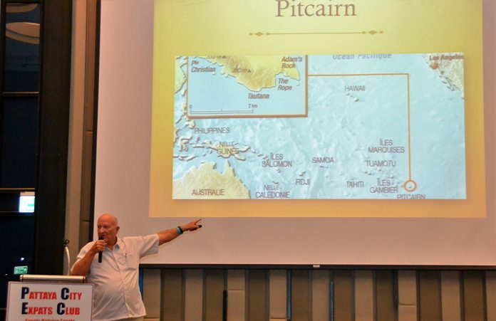 """Using maps and photographs, Ray Woods takes his PCEC audience with him as he recounts his many world travels. In this slide, he described his visit to Pitcairn Island made famous through the """"Mutiny on the Bounty"""" movies."""