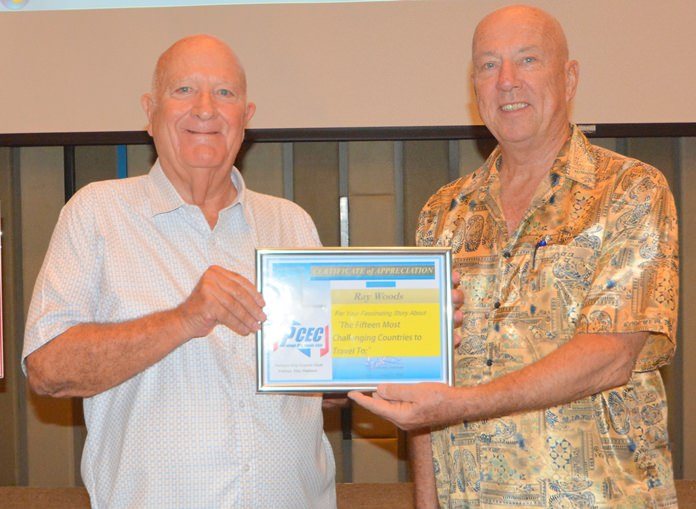 MC Roy Albiston presents Ray Woods with the PCEC's Certificate of Appreciation for his informative and interesting presentation about his world travels.