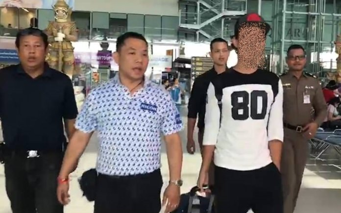Chonburi Immigration officers arrested Tatsuru Tanaka, wanted in Japan for running a call-center fraud scheme.