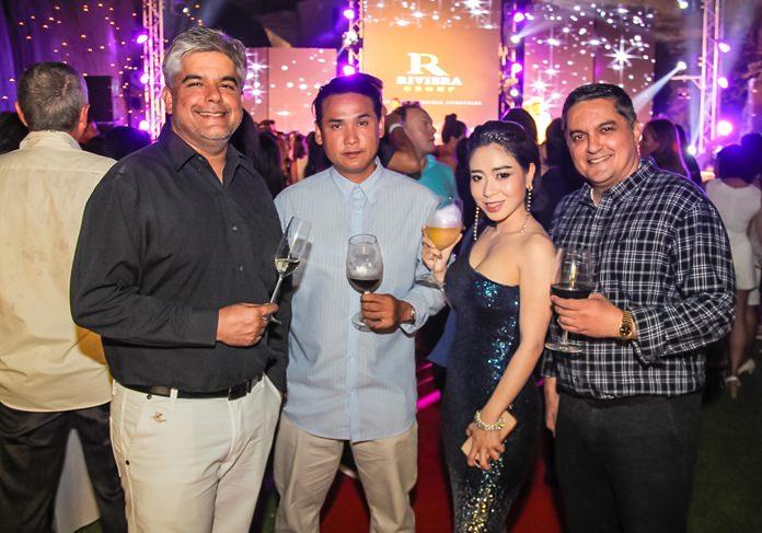 Tony Malhotra with Vissanu Saropala, Pragaiwan Mathurost, Sales Manager, Baraquda Pattaya and Prince Malhotra Dep. MD of Pattaya Mail.