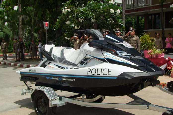 Chonburi's governor donated motorcycles, jet skis and safety equipment to the province's police to bolster safety for tourists.