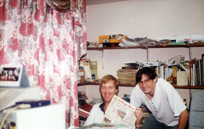 Dan (left) and Andy (right) hamming it up in the Pattaya Mail office on Second Road back in the early days.