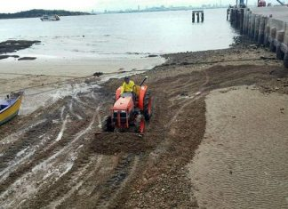 Pattaya cleaned up the beachfront in front of Koh Larn's fishing pier to prevent damage to small boats.