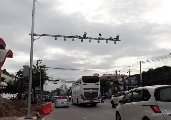 Two license plate recognition cameras on North Road, on opposite sides near the intersection with Phettrakul Road, are now operational.