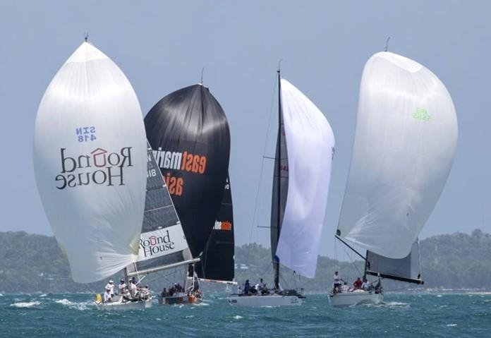 Boats under full sail at the 15th Phuket Raceweek.