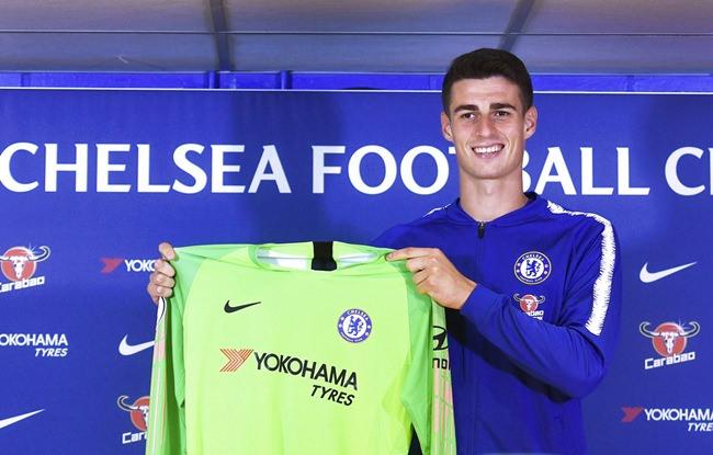Chelsea's new goalkeeper Kepa Arrizabalaga is unveiled during a press conference at Stamford Bridge, London, Thursday, Aug. 9. (John Stillwell/PA via AP)