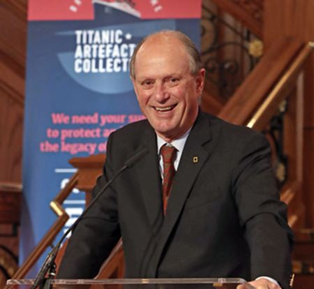 Dr Robert Ballard, who discovered the wreck of Titanic in 1985, speaks in Belfast, Northern Ireland, Tuesday July 24. (Niall Carson/PA via AP)