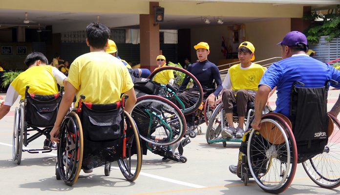 Wheelchair basketball - a tough game at times.