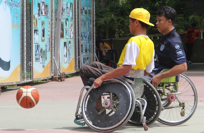 The final of the wheelchair basketball competition.