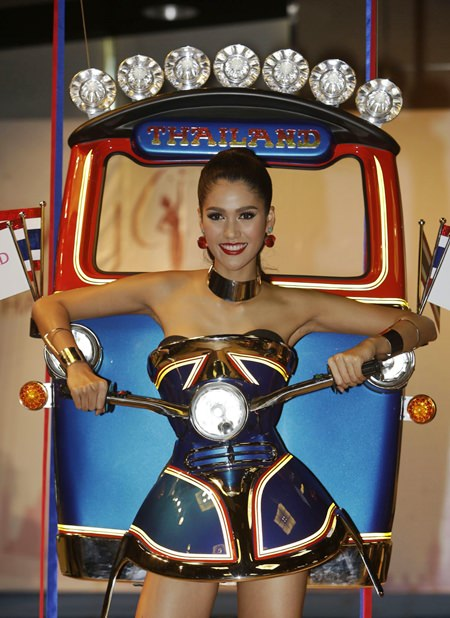 Thailand's Aniporn Chalermburanawong caused a stir at the 2015 Miss Universe contest when she appeared in a tuk-tuk dress. (AP Photo/File)