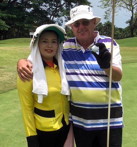Stan Rees (right) celebrates his hole-in-one at Khao Kheow.