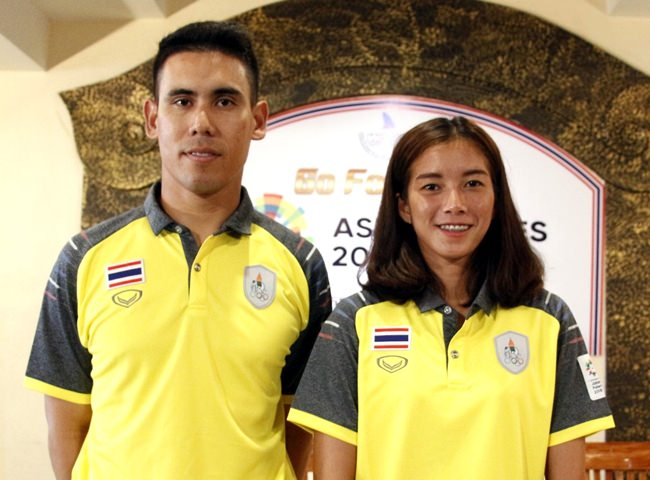 Thai windsurfers Eak Boonsawat (left) and Siriporn Kaewduang-ngam (right) will lead the quest for gold medals at the 2018 Asian Games.
