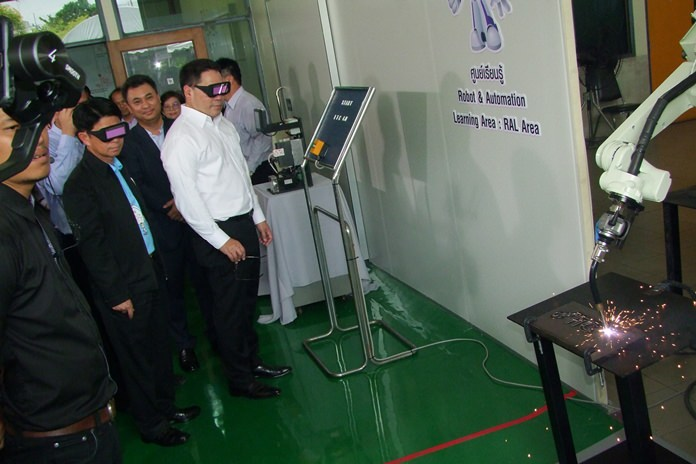 Industry Minister Utama Savanayon opens the first of seven planned Industry Transformation Centers.