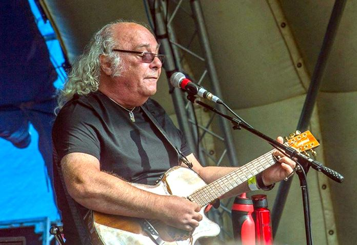Edgar Broughton performs at the 2017 New Day Festival in Faversham, Kent, England.