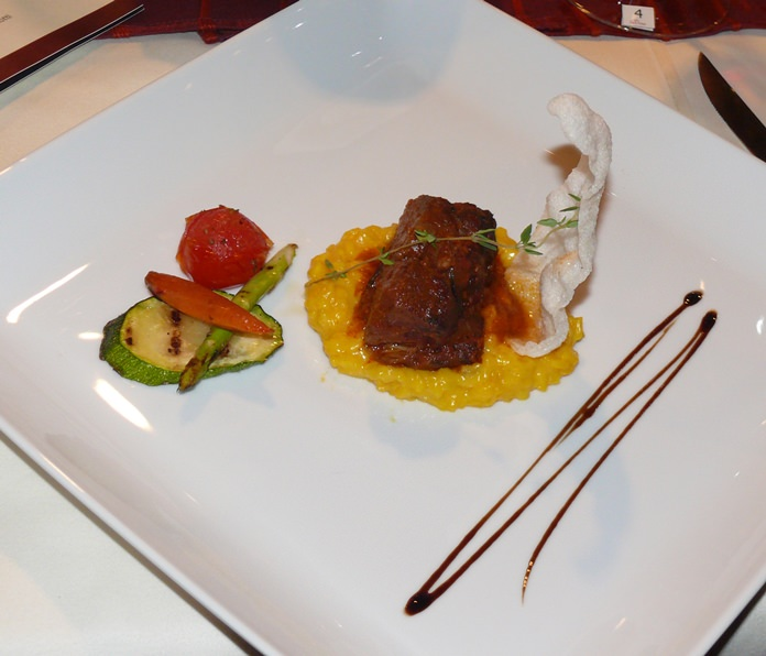A beautiful lamb dish on saffron risotto.