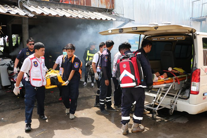 Emergency personnel joined East Pattaya residents in practicing their response to a home fire on Khao Talo Soi 16.