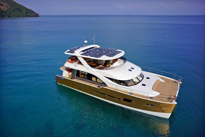The Heliotrope 65, flagship of the Bakri Cono fleet, powered by 28 sqm of high performance solar panels generating up to 8 kw/hr of power. She is the world's first solar assisted luxury catamaran yacht.