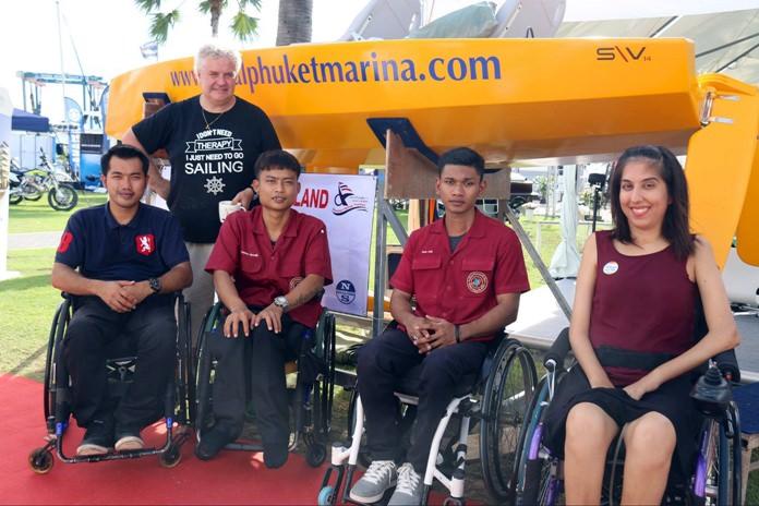 Nina (right) poses with her fellow intrepid sailors at Ocean Marina Yacht Club in Pattaya.