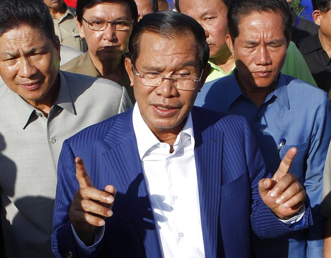 Cambodian Prime Minister Hun Sen is shown in this Aug. 1, 2018, file photo. (AP Photo/Heng Sinith)