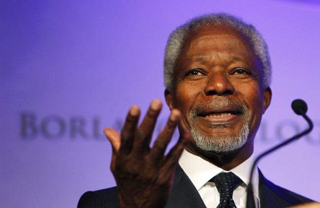 In this Thursday, Oct. 14, 2010 file photo former United Nations Secretary-General Kofi Annan speaks at the World Food Prize Symposium in Des Moines, Iowa. (AP Photo/Charlie Neibergall)