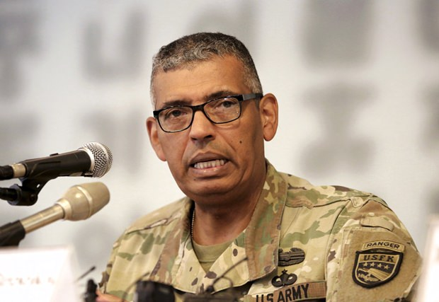 U.S. Gen. Vincent Brooks, commander of the United Nations Command, U.S. Forces Korea and Combined Forces Command, speaks during a press conference at the Seoul Foreign Correspondents Club in Seoul, South Korea, Wednesday, Aug. 22. (AP Photo/Ahn Young-joon)